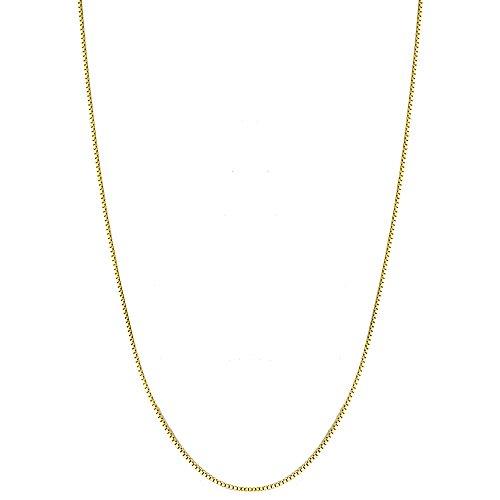 18k Over Sterling Silver Pendant (18K Gold Flashed over Sterling Silver 1mm Thin Italian Box Chain Necklace - 20