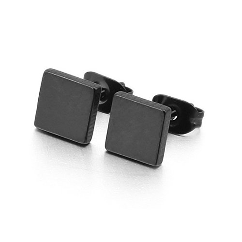 INBLUE 6 10mm Stainless Earrings Square