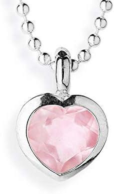 Drachenfels Heartbreaker Stone - Colgante de plata con forma de corazón y cuarzo rosa para mujer