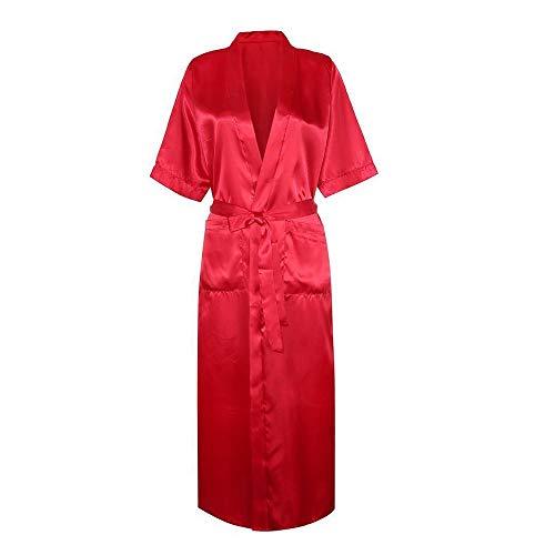 (Women Lingerie Nightdress Sexy Satin Long Silk Bath Robe Babydoll Underwear Red)