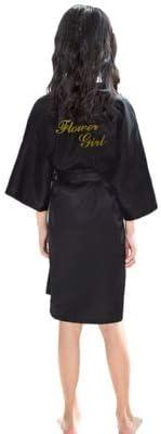 Sommer Kinder Robe Mädchen Kimono Kleid Knielang Dünne Nachtwäsche Kinder Nachtwäsche Bad Robe Baby Bademantel Kleid-black-XL