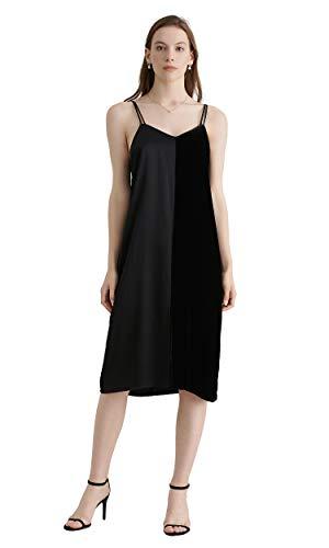 LilySilk Silk Cami Dress for Women Long Elegant Sexy Wedding Patchwork Charmeuse Party Evening Ladies Black ()