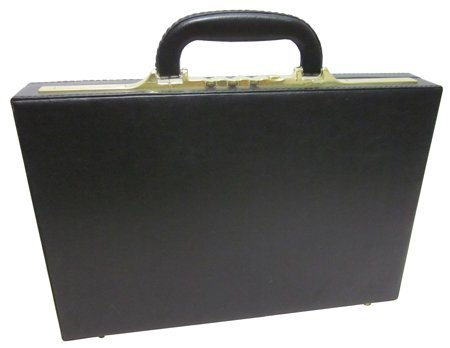 AmeriLeather Slim Executive Faux Leather Attache Case (Black)