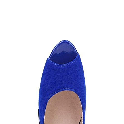 BalaMasa da donna fibbia solido high-heels sandali, Blu (Blue), 38
