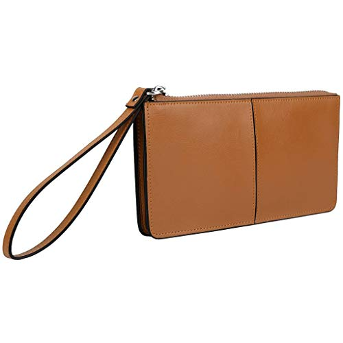 YALUXE Women's Leather Wallet Zipper Clutch Wristlet for iPhone 7 Plus/Galaxy S5 Brown Tan
