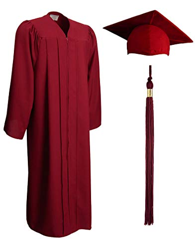 (Matte Graduation Gown, Cap and Tassel Set - Unisex Adult And Teen Graduation Robe For Middle School, High School, College And University, Maroon Size 51 (5.6 to 5.8 inches tall))