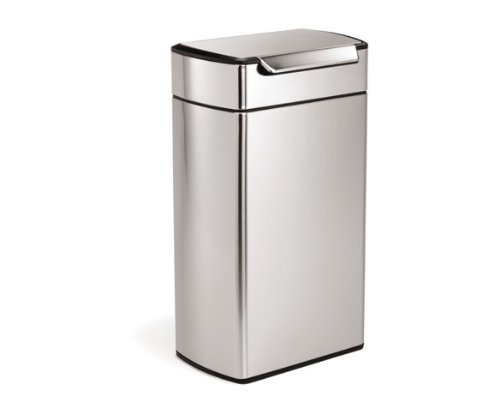 Ada Rectangular Wastebasket - simplehuman 40 Liter / 10.6 Gallon Stainless Steel Touch-Bar Kitchen Trash Can, Brushed Stainless Steel, ADA-Compliant
