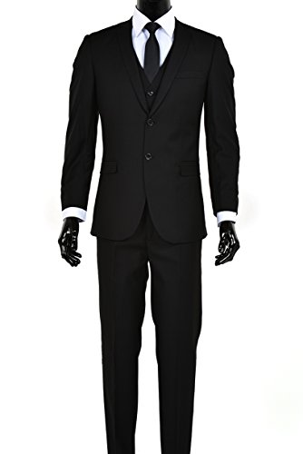 Men's Slim Fit Two Button Three Piece Suit (Black, 38Short)