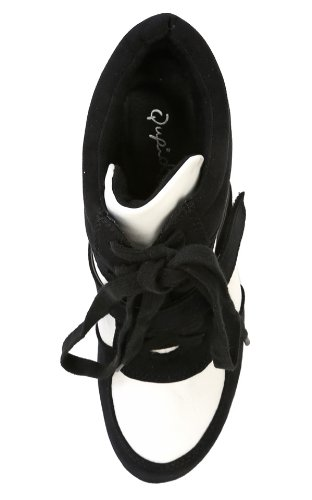Qupid Ting-08 Lace Up Tallone Sneakers Con Zeppa Nere