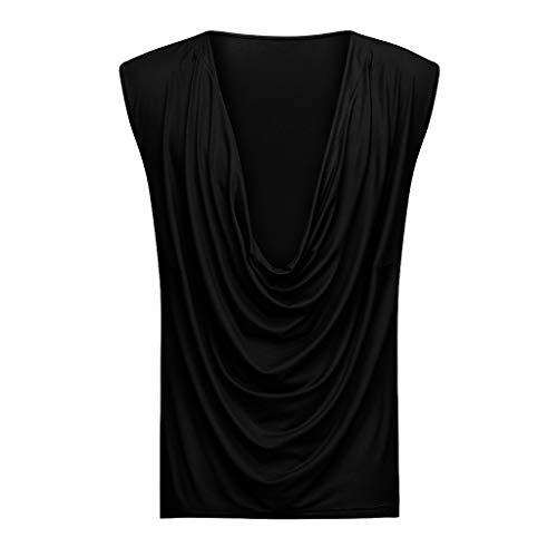 - O Neck Tie Tops,Fashion Men T Shirt Casual Sleeveless Low Neck T-Shirt Casual Sport Tops,Black,XL