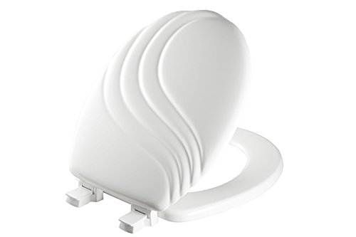 MAYFAIR Sculptured Swirl Toilet Seat will Never Loosen and Easily Remove, ROUND, Durable Enameled Wood, White, 27ECA 000