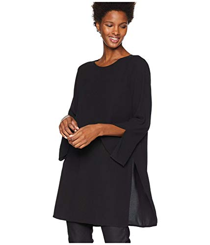 Tunic Silk Georgette - Eileen Fisher Black Silk Georgette Crepe Round Neck Tunic Size L MSRP $328