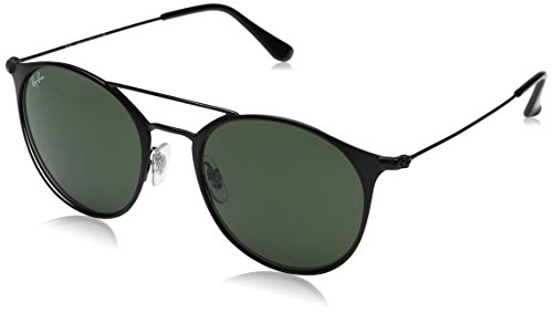 Ray-Ban Steel Unisex Round Sunglasses, Black Top Matte Black, 52 - 52 Ban Size Ray Aviator