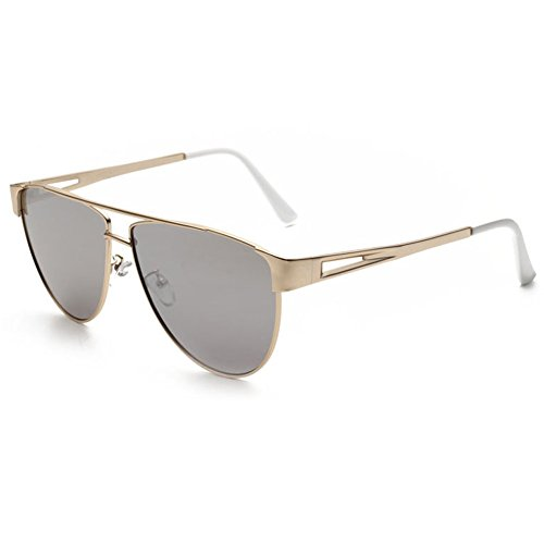 SRANDER Modern Fashion Full Metal Frame Flat Lens Aviator Sunglasses For Men Women - Fish Sunglasses With