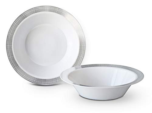 OCCASIONS 40 Bowls Pack, Heavyweight Disposable Wedding Party Plastic Bowls (14oz Soup Bowl, Linen White & Silver)