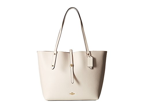 COACH Women's Polished Pebbled Leather Market Tote Li/Chalk One Size