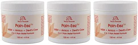 Pain-EEZ All Natural Pain Relief Cream with MSM, Arnica and Devil's Claw, 3-4oz Jars, Best Value