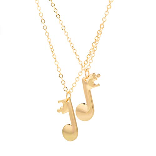 Myhouse 2 Pcs/Set Music Note Pendant Couple Necklace for Best Friend Charm Accessories,Gold - Note Music Charm Gold
