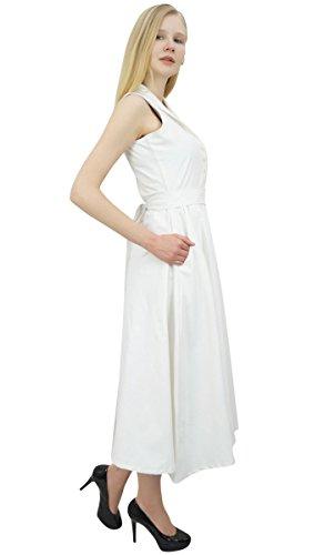 Solides Femmes Manches Casual Robe Coton Mi Blanc Phagun Tunique Longue Simple P6EqwqnB