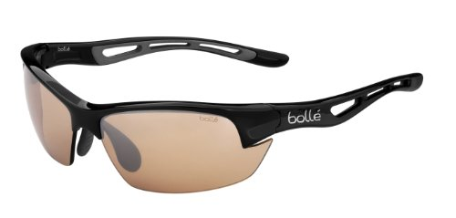 (Bolle Bolt S Photo V3 Golf Sunglasses, Shiny black)
