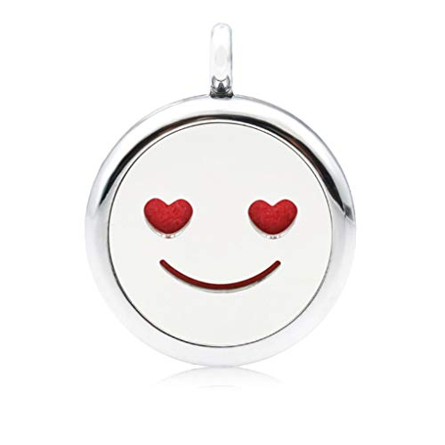 1pc 25mm Emoji Smile Diffuser Lockets Pendant Essential Oil Perfume Aromatherapy KO7E