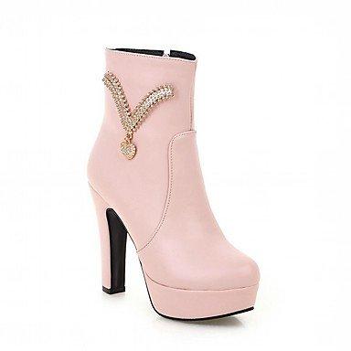 RTRY Zapatos De Mujer De Piel Sintética Pu Novedad Moda Otoño Invierno Confort Botas Botas Chunky Talón Puntera Redonda Botines/Botines De Strass US9.5-10 / EU41 / UK7.5-8 / CN42