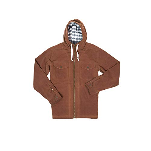 Buffalo Jackson Marshall Hooded Jacket for Men | Waxed Cotton Canvas Exterior with Flannel Lining (Dark Khaki, Medium)