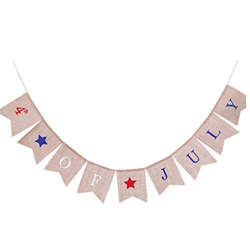 youeneom 4th of july Burlap Banner- Letter America Independence Day Garland - Rustic Fourth of July Decorations - Independence Day Decorations Mantel Fireplace Wall Hanging Decor ()