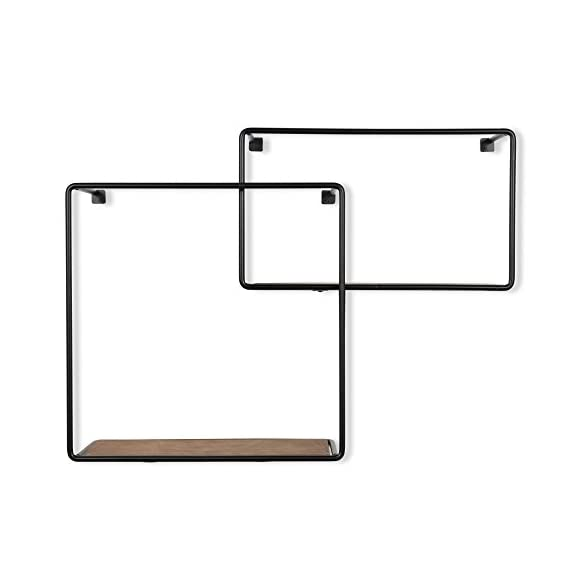 ArtifactDesign Wall Mounted Rustic Decor Iron and Wood Intersecting Cube Floating Shelves Wood Set of 2 (Black) - Ingenious Design: Unlike other intersecting floating shelves these cubist shelves promise a unique and whimsical touch to your living room décor, the rustic finish with iron black borders and natural wood color will complement the look of your decoration. Basic Installation: Without requiring any frustrating assembly the display shelves are easy to mount on your unused wall space. The hooks and brackets are included in the package to save you time, energy and extra money. You Can't Go Wrong: With a chic, stylish and trendy design you can do yourself a favor and decorate your living room like a professional, the vintage look makes it impossible to create a disappointing décor. - wall-shelves, living-room-furniture, living-room - 31mhAa7sEbL. SS570  -