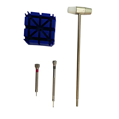 4 Piece Watch Band Link Pin Tool Set Poratble DIY Watch Repair Kit For Travel or Home HGJ27-A-US ()