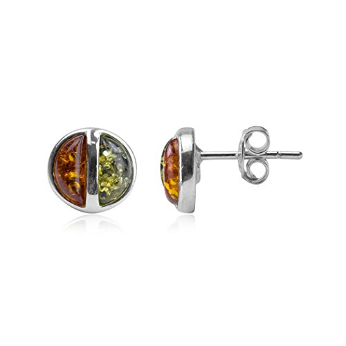- Multicolor Amber Sterling Silver Modern Small Stud Earrings