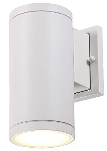 Cloudy Bay LED Outdoor Wall Light Fixture,3000K Warm White Modern Cylinder Porch Light,13W Dimmable,White