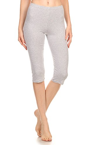 Women Stretch Capri Active Crop Cotton-Spandex Leggings Tights (X-Large, GREY)
