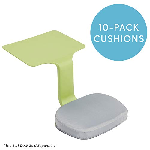 ECR4Kids Surf Cushion 10 Pack - Added Seat Cushion for The Surf Portable Lap Desk/Laptop Stand/Writing Table, Gray
