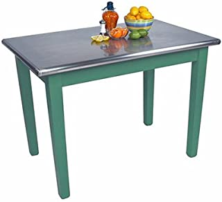 "product image for John Boos Cucina Americana Moderno Prep Table with Stainless Steel Top Size: 48"" W x 24"" D, Base Finish: Basil Green"