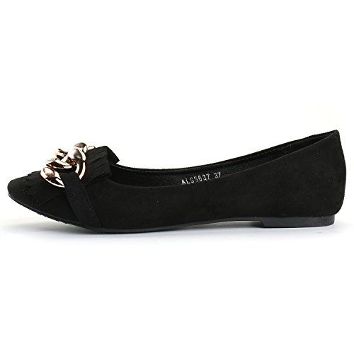 Alexis Leroy Women's Casual Hoop Decorated Soft Insole Ballet Flats Black-1 UYK2z8