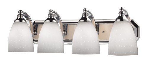 Mix and Match Vanity 4-Light Wall Lamp in Chrome with Simple White Glass