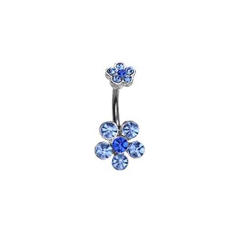 Paula & FRITZ Piercing Nombril en Acier Inoxydable Acier chirurgical 316L Double fleur en pierres bleu nsk03_ b