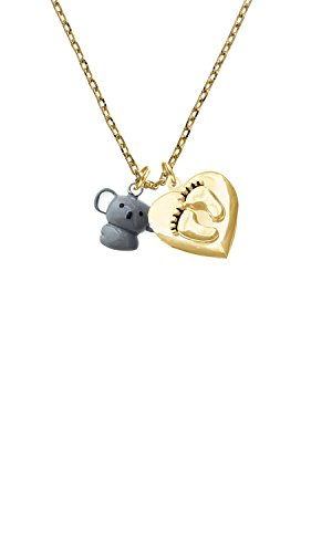 Resin Kuala Bear You are more Loved Gold Tone Baby Feet Heart Locket Necklace