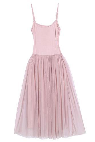 Women's Midi Length Tulle Skirt Spaghetti Straps Tutu Mesh Party Dress Pink