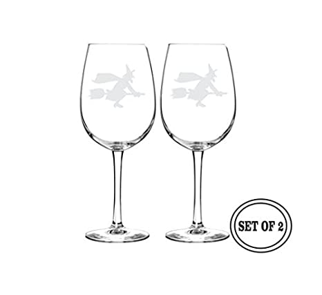 Amazon 2 Etched Halloween Witch Wine Glasses Halloween Gift