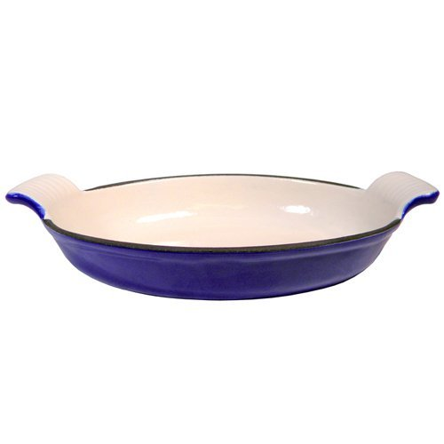 Fancy Cook Blue Enamel Cast Iron Oval Roasting Dish 10 1/4
