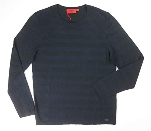 Hugo Boss New RED Label Navy Textured Sluis Tonal Striped Jumper Sweater SZ L (Striped Boss Sweater Hugo)