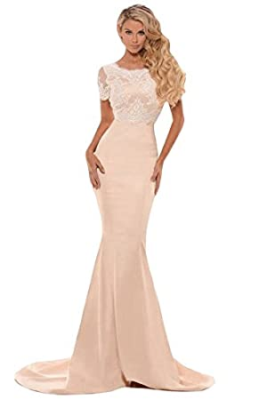 New ladies Eyelash Lace Satin long evening Gown dress prom dress cocktail dress party wear gown