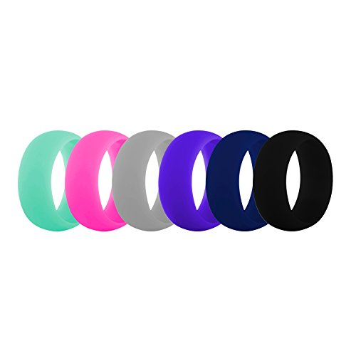(GOGO (Price/6 PCS) Premium Women's Silicone Wedding Rings - 9 mm Wide (2 mm Thick) Flexible Wedding Bands)