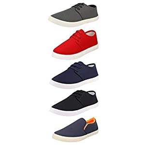Chevit Mens Canvas Casual High-Performance Loafers Shoes and Sneakers-Multicolor-Combo Pack of 5