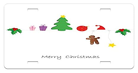 Christmas Celebration Images For Drawing.Amazon Com Ambesonne Kids Christmas License Plate Border