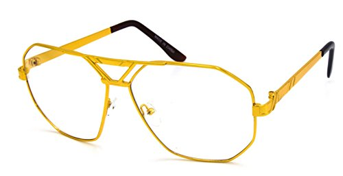 OVERSIZE CLASSIC VINTAGE 70s RETRO Style Clear Lens EYE GLASSES Large Gold - 70s Eyeglasses