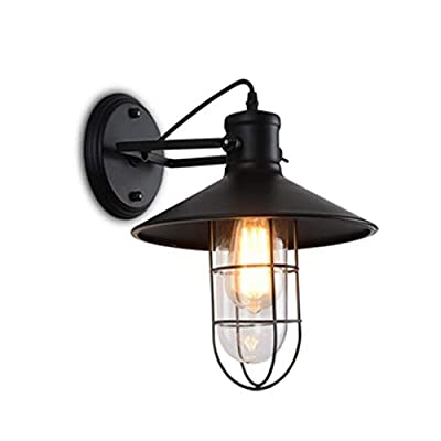 AOBOLA Industrial Wall Sconce Vintage Retro Wall Lamp Metal Glass Cage Lighting Fixture Up Down Adjustable Angle for Home Club Restaurant Door Porch etc