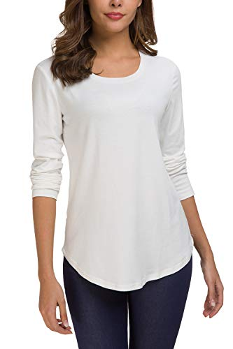 Zattcas Womens Long Sleeve T Shirt Crew Neck Loose Long Sleeve Tee Shirts Top (Large, White) -